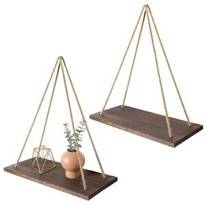 Boho Wall Hanging Wood Floating Shelves- Set Of 2